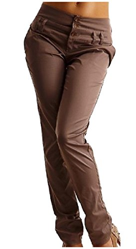 Accogliente Montaggio Solido Pantaloni Cachi Di Vita Donne Sottile Angelspace Fibbia Sopra Lunghi 10EFqzxw