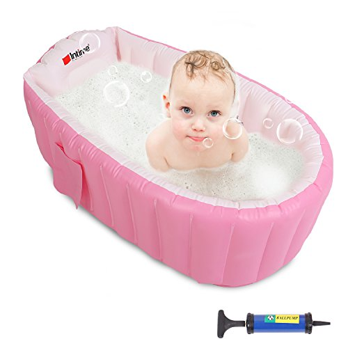 Buringer Baby Inflatable Bathtub with Hand Pump,Baby Infant Travel Inflatable Non Slip Bathing Tub Bathtub (Pink)