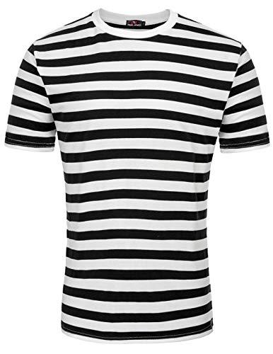 Men's Stylish Black Stripe Shirt Basic T-Shirt Crew Neck for Summer Black, M