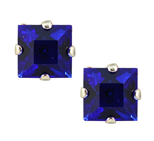 Mariana Silver Plated Square Crystal Post Earrings in Blue