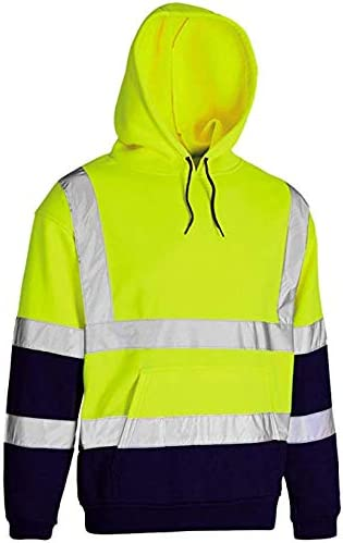 2 Tone and Plain Inspire Me Hi Vis Visibility Safety Work Hoodie Reflective Band Hoodies Jumper Hoody TOP Pollover or Zip
