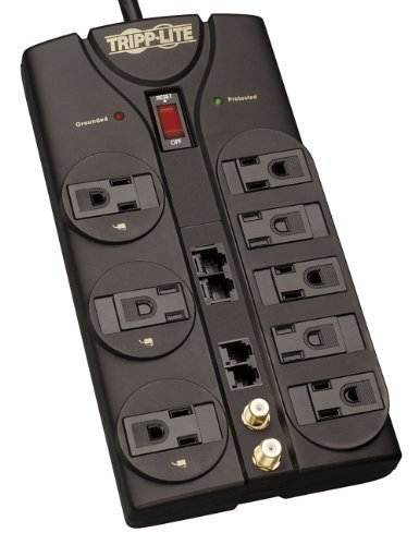 Portable, Tripp Lite TLP810NET 8-Outlet Surge Protector 3240 Joules, 10 Feet Cord, Tel/DSL, Ethernet, Coax Consumer Electronic Gadget Shop by Portable4All