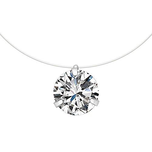CARSINEL Collar Colgante Solitario Cristales Cubic Zirconia Línea de Pesca Gargantilla Invisible para Mujeres/Niñas,...