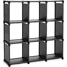 SONGMICS 9 Cube DIY Storage Shelves Open Bookshelf Closet Organizer Rack Cabinet Black ULSN45BK