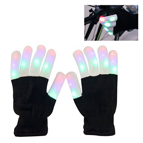 LED Gloves, Aomeiqi Finger Light Gloves Colorful 6 Modes for Dance Party Halloween Light Show Rave (Just Dance Halloween Party)