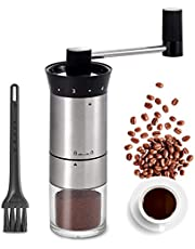 Manual Coffee Grinder Stainless Steel Portable Hand Crank Coffee Mill Grinder Ceramic Conical Burr with Adjustable Coarseness for Home, Office or Traveling