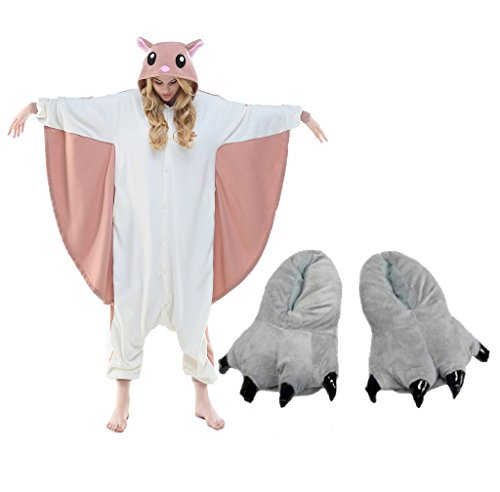 Flying Squirrel Costume One Piece Pajamas+Monster Shoes Slipper Paw Party Outfit - Funtober  sc 1 st  Funtober : squirrel costume for women  - Germanpascual.Com
