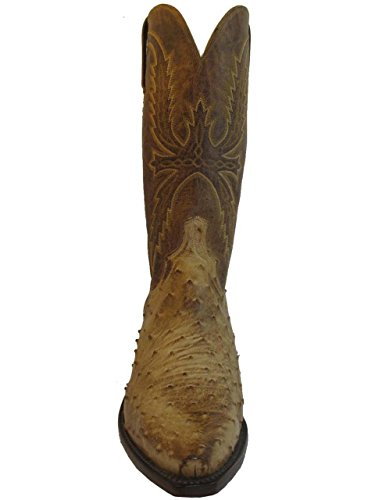 Lucchese 1883 Men's Cowboy Boots N1043.54 Ostrich Mad Dog Tan Goat 12 Us