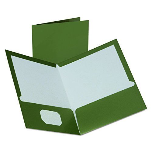 Oxford Metallic Two-Pocket Folders, Green, Letter Size, 25 per Box, (99416) - Two Green Pocket