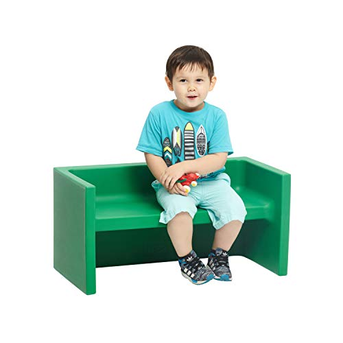 - ECR4Kids Tri-Me Adaptable Kids Bench, Convertible Bench for Kids and Toddlers, Portable Plastic Play Seat and Table, Green