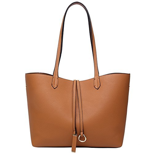(Tan Vegan Leather Tote Shoulder Bag for Women With Large Zipper Purse Fits Laptop 14Inches)