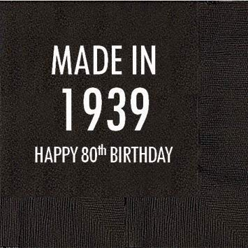 80th Birthday Napkins (80th Birthday Black Cocktail Napkins - Made in 1939 (50)