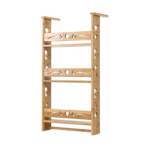 Refrigerator Rack Side Wall Kitchen Storage Rack Side Seasonings Free Punching Bamboo Thickening Rack Thick Material Vintage Carving ()