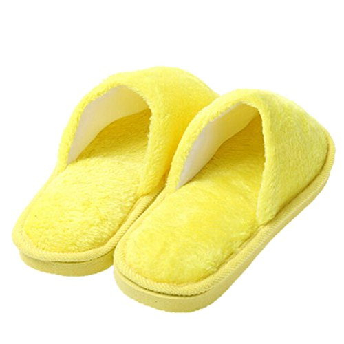 Jiyaru Women's Men's Solid Fuzzy Round Toe Soft Indoor Winter Slippers Fluorescent Yellow 9H05Pt