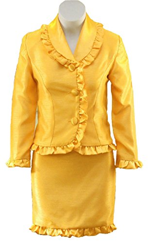 [Aisha Girls Interview Pageant Suits Kids Outfits Long Sleeves Custom 8 US Yellow] (Pageant Suits)