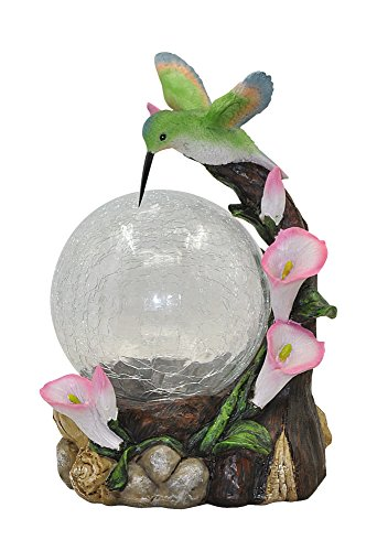 Moonrays 92365 Hummingbird Globe Garden Statue with Solar Powered Color-Changing LED, Multicolor (Crackle Feeder Hummingbird)