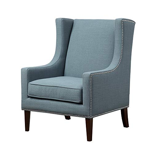 Madison Park Barton Accent Chairs - Hardwood, Faux Linen Living Room Chairs - Blue, Teal, Modern Classic Style Living Room Sofa Furniture - 1 Piece Nail Head, Swoop Arm Bedroom Chairs Seats