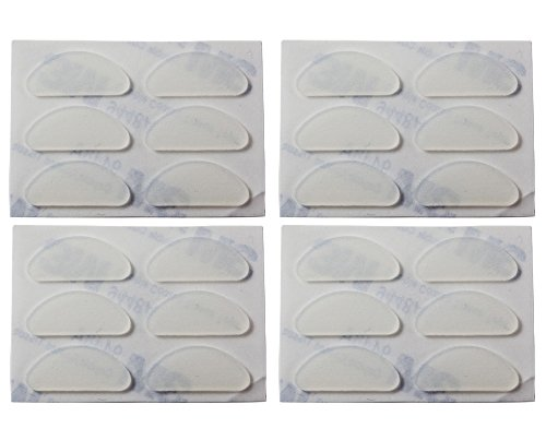 (12 Pair, Clear) Gms Optical 19mm Adhesive Silicone Eyeglass Nose Pads