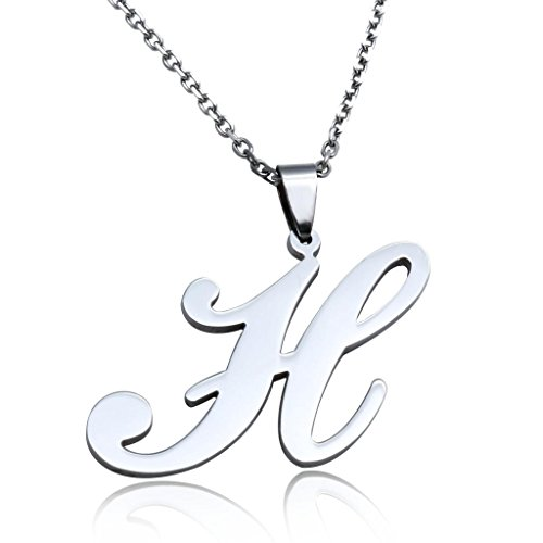 FUNRUN Womens Mens Stainless Steel Initial Letter Pendant Necklace,Letter H