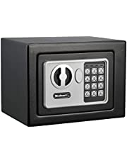 Digital Security Safe Box for Valuables- Compact Waterproof and Fireproof Steel Lock Box with Electronic Combination Keypad by Stalwart- Black