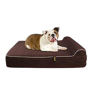 KOPEKS Cama Grande para Perros Mascotas Grandes con Memoria Viscoelástica Ortopédico 91 x 71 x 15 cm más la Almohada – L – Marrón