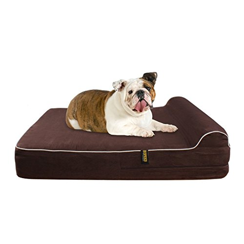 Large Orthopedic Memory Foam Dog Bed With Pillow - Includes Waterproof Inner Protector & Removable Cover - Brown