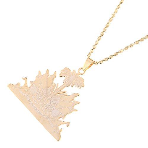 Stainless Steel Haiti Pendant and Necklace Ayiti Items Haiti Jewelry (Gold) (Haiti Accessories)