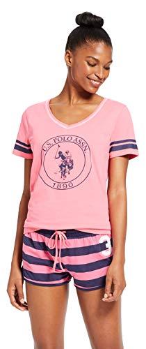 U.S. Polo Assn. Womens Short Sleeve Shirt Elastic Waist Shorts Pajama Sleep Set Pink Sapphire Medium