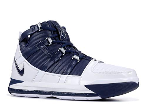 Nike Zoom Lebron III QS Mens Hi Top Basketball Trainers AO2434 Sneakers Shoes (UK 7.5 US 8.5 EU 42, White Midnight Navy 103)