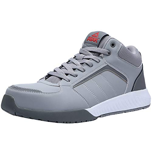 Unisex Steel Toe Work Shoes Industrial&Construction Shoes Puncture Proof Safety Shoes (man 9, 72012 grey)