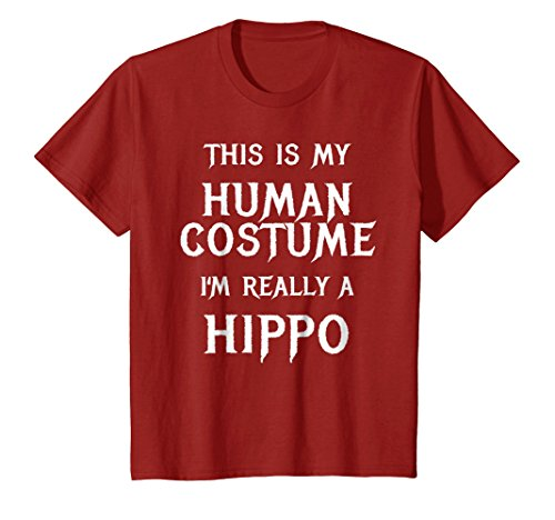 Kids Hippo Halloween Costume Shirt Easy Funny Party Shirt Idea 6 Cranberry