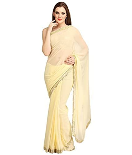 cb7c755ad6488 Flowral Women s Chiffon Saree With Blouse Piece.(China Cream-1 Free Size)   Amazon.in  Clothing   Accessories