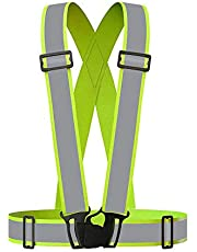 Grinigh Chaleco reflectante, ajustable, elástico, ligero y de alta visibilidad, chaleco de seguridad para correr, correr, caminar, ciclismo, trabajo, se adapta a ropa al aire libre, chaqueta de motocicleta, equipo al aire libre