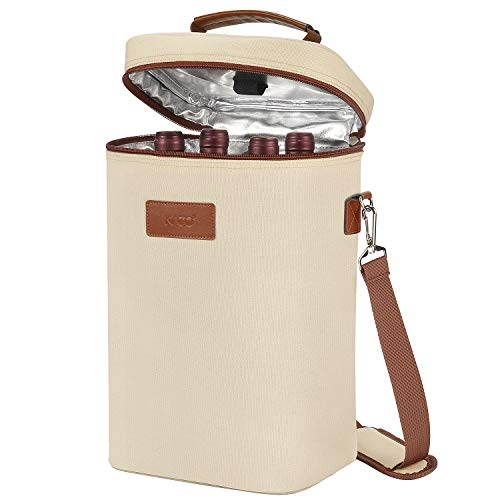 Tirrinia 4 Bottle Wine Carrier - Insulated & Padded Portable Versatile Canvas Carrying Cooler Tote Bag for Travel, BYOB Restaurant, Wine Tasting, Party, Great Christmas Gift for Wine Lover, Beige