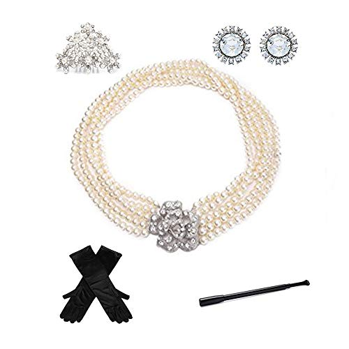 Utopiat Costume Jewelry and Accessory Set, Audrey Hepburn, Breakfast at Tiffany's (without gift ()