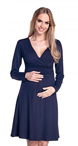 Happy Mama. Mujer Maternidad Jersey Vestido Largo Mangas Bebé Ducha. 890p Armada