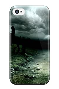 SfFNnHJ4418SjjUm Case Cover Enigmatic Rider In The Night Iphone 4/4s Protective Case