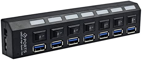 Noblik 3.0HUB 7-Port USB hub high-Speed line Splitter USB a Drag Seven hub with Independent Switch Multi-Port