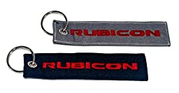 2x Rubicon Keychain Jeep JKU JK Wrangler Rubicon Crew Tag Lock. Black & Charcoal Gray