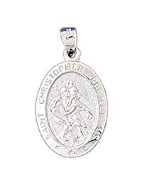 14K Yellow Gold Saint Christopher Coin Pendant Necklace - 27 mm