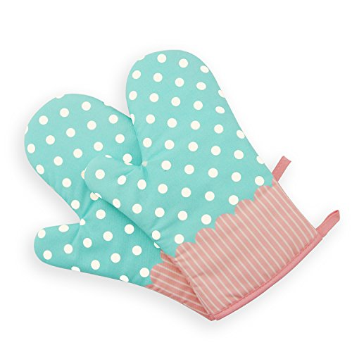 Saumota One Pair Lovely Thicken Cotton Fabric Kitchen Oven Gloves Heat Resistant Oven Mitts For Cooking-Polka ()