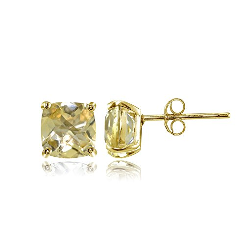 (Yellow Gold Flashed Sterling Silver 5mm Cushion-Cut Citrine Stud Earrings )