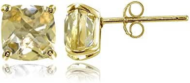 Sterling Silver 5mm Cushion-Cut Gemstones Stud Earrings, Choice of Colors