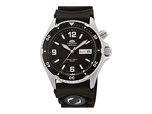 Orient Mako Black Dial Automatic Dive Watch with Rubber Dive Strap EM65004B