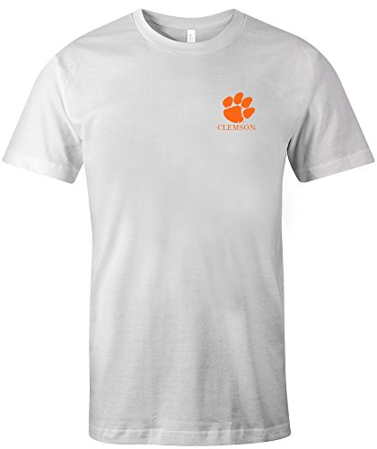 NCAA Clemson Tigers Adult Painted Flag Jersey Short sleeve T-Shirt, X-Large,White