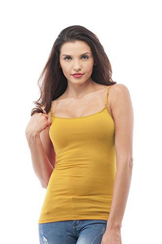 (Women's Cami Camisole Built in Bra Adjustable Spaghetti Strap Tank Top (Large, Mustard))