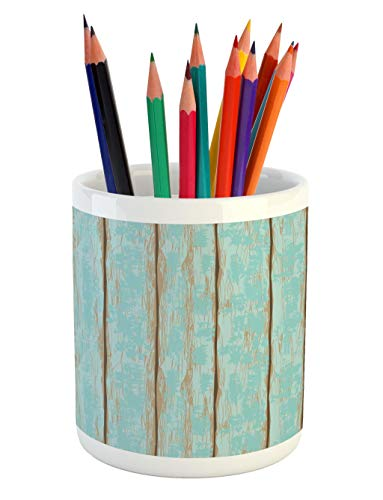 Cheap  Lunarable Wood Print Pencil Pen Holder, Old Fashioned Weathered Rustic Planks Summer..