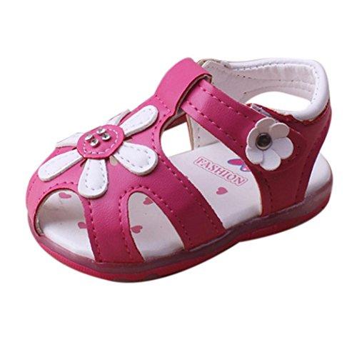 Princess Schuhe für 3 ~ 5.5 Jahre Baby Girls, Simonabo Kid Summer Soft-soled shoes Kleinkind Lighted Sunflower (24, Pink)