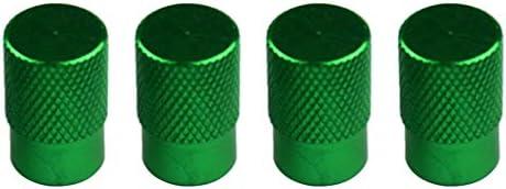 タイヤ ホイール ステム エアバルブ キャップ ダストカバー メタル 車 トラック用 4個 全7色 - 緑