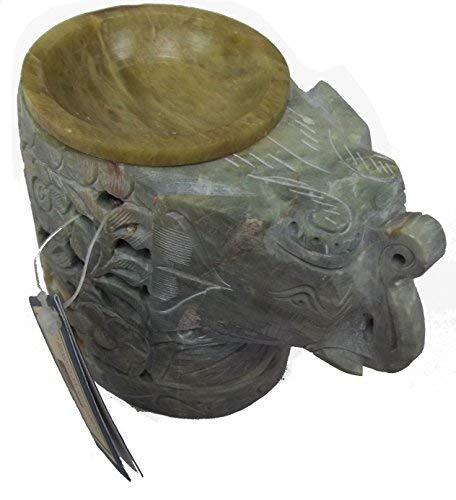HAND CARVED ELEPHANT SOAP STONE INCENSE OIL TEA LIGHT HOLDER CANDLE BURNER
